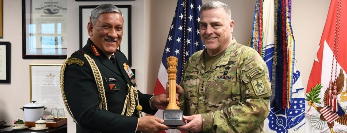 #امریکہ۔ہند دفاع: جنرل بپن راوت نے جنرل مارک ملے سے ملاقات کی