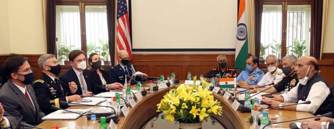 Secretary of Defense Mark T. Esper meets with Minister Rajnath Singh