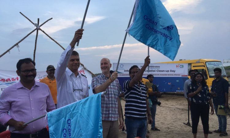 U.S. Consulate General and Partners Conduct Beach Cleanup at Besant Nagar, Chennai