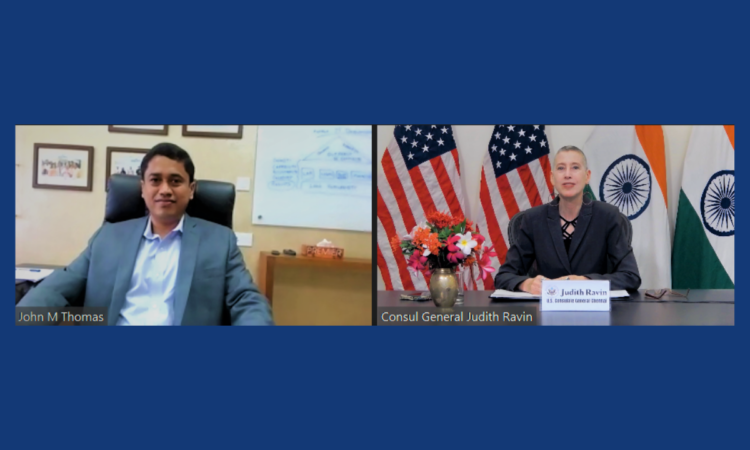 Chief Executive Officer ofTechnoparkJohn M. Thomas led U.S. Consul General Chennai Judith Ravin on a virtual tour of the Government of Kerala's Technopark in Thiruvananthapuram on Tuesday, July 13.