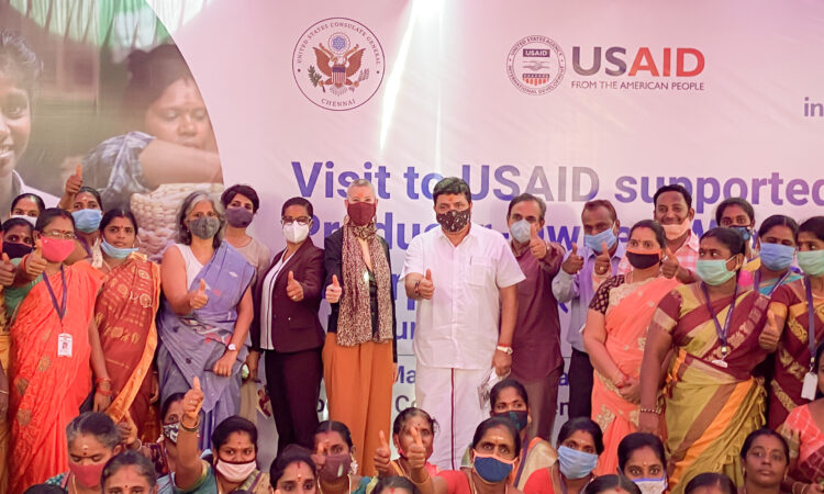 Industree Crafts Foundation co-founder Neelam Chhiber, USAID/India Senior Program Office Advisor Katrina Mayfield Medjo, U.S. Consul General Chennai Judith Ravin, and Tamil Nadu Finance Minister Palanivel Thiaga Rajan pose for a photo with women micro-entrepreneurs supported by the U.S. Agency for International Development's (USAID) Producer-Owned Women Enterprises (POWER) project at Industree Crafts Foundation in Madurai on October 12, Tuesday.