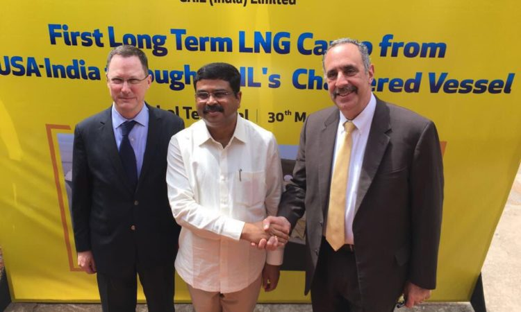 United States Minister Counselor for Commercial Affairs Patrick Santillo and Consul General to Kolkata Craig Hall joined Minister of Petroleum and Natural Gas Dharmendra Pradhan to welcome the first shipment of U.S. liquefied natural gas