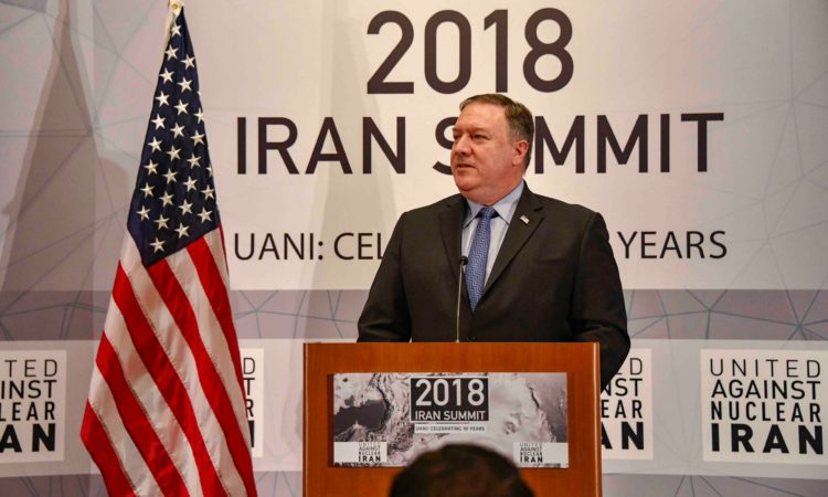 Menteri Luar Negeri AS, Michael R. Pompeo, menyampaikan pidatonyanya di United Against Nuclear Iran Summit di New York City pada 25 September 2018. (State Department)