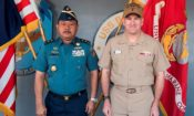 Rear Adm. Didik Setiyono, Assistant Chief of Operations with the Indonesian Navy, poses with Vice Adm. Bill Merz, Commander of the U.S. 7th Fleet, aboard the U.S. 7th Fleet flagship, USS Blue Ridge (LCC 19), on October 11, 2019. The Indonesian Navy's visit to U.S. 7th Fleet headquarters is highlighted by this year's marking of the 70th anniversary of diplomatic ties between the United States and Indonesia. (U.S. Navy photo by Mass Communication Specialist 2nd Class Jimmy Ong)