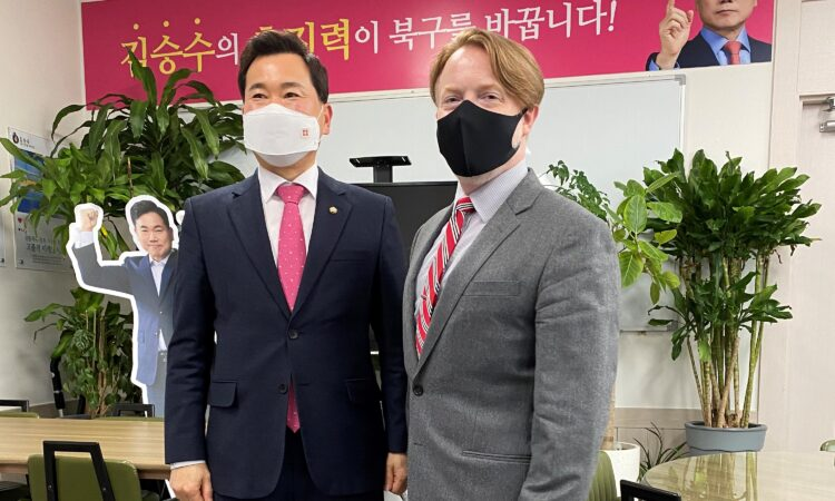 National Assembly Member Kim Seung-soo welcomes Consul Church to his Daegu office.