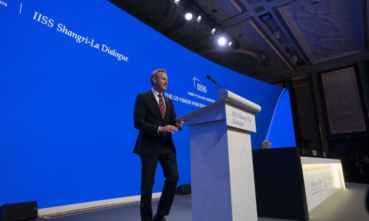 U.S. Acting Secretary of Defense Patrick M. Shanahan delivers remarks at the IISS Shangri-La Dialogue, Singapore, June 1, 2019. (DoD photo by Lisa Ferdinando)