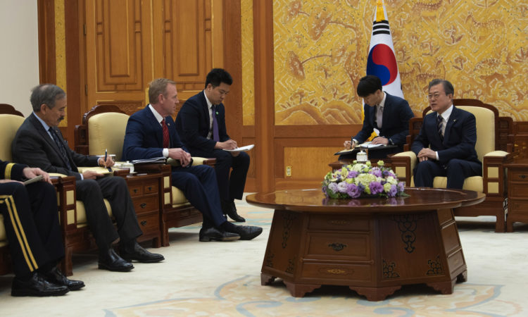 Acting Defense Secretary Patrick M. Shanahan meets with South Korean President Moon Jae-in during his visit to Seoul, South Korea, June 3, 2019.