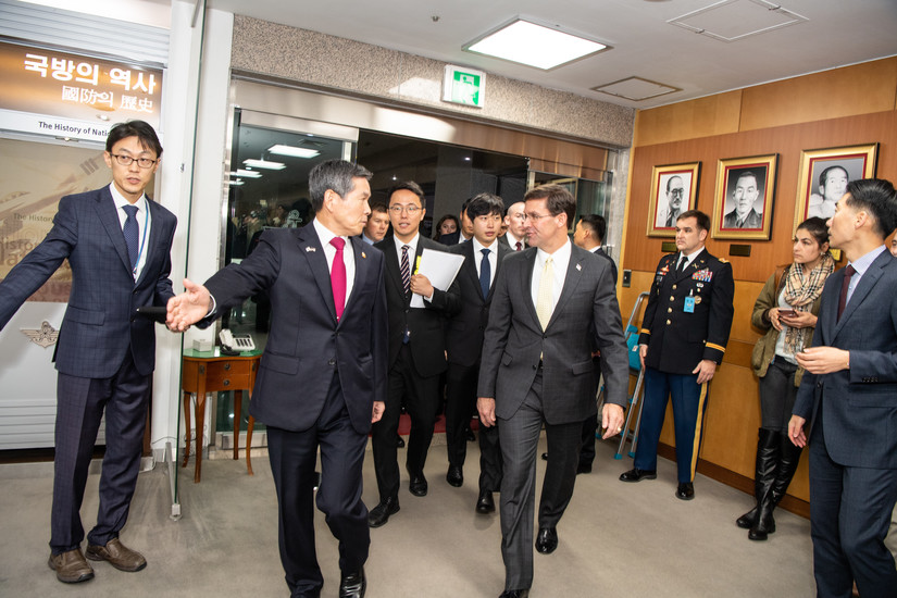 Defense Secretary Mark T. Esper meets with Minister of National Defense of South Korea Jeong Kyeong-doo during a visit to Seoul, South Korea, Nov. 15, 2019. (DoD photo by Army Staff Sgt. Nicole Mejia)