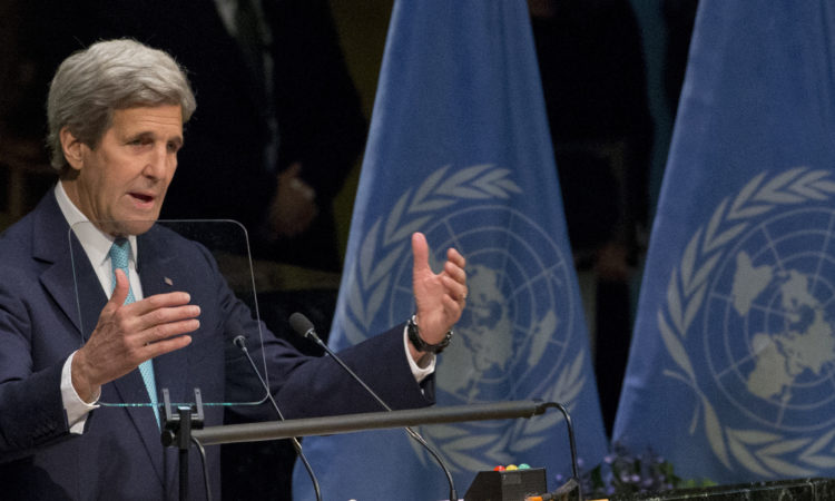 U.S. Secretary of State John Kerry speaks during the Paris Agreement on climate change ceremony, Friday, April 22, 2016 at U.N. headquarters. (AP Photo/Mary Altaffer)