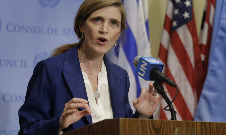 Samantha Power, U.S. Ambassador to the U.N., talks to the media during a break in United Nations Security Council consultations, Thursday, Feb. 25, 2016, at the United Nations. A U.N. resolution proposed against North Korea after its recent nuclear test and rocket launch will affect exchanges with its traditional ally China, that country's top diplomat said Thursday. (AP Photo/Julie Jacobson)