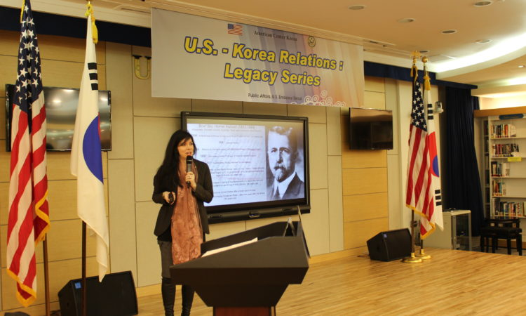 January 5, 2016 - Prof. Hope Elizabeth May of Central Michigan University gives a talk on 'The Memory of Homer Hulbert and his Contribution to Korea's Internationalism' as part of the U.S.-Korea Relations: Legacy Series. Hulbert lived in Korea on and off between 1886 and 1907, eventually becoming the loudest Western voice advocating for Korean independence during the Japanese colonial era.