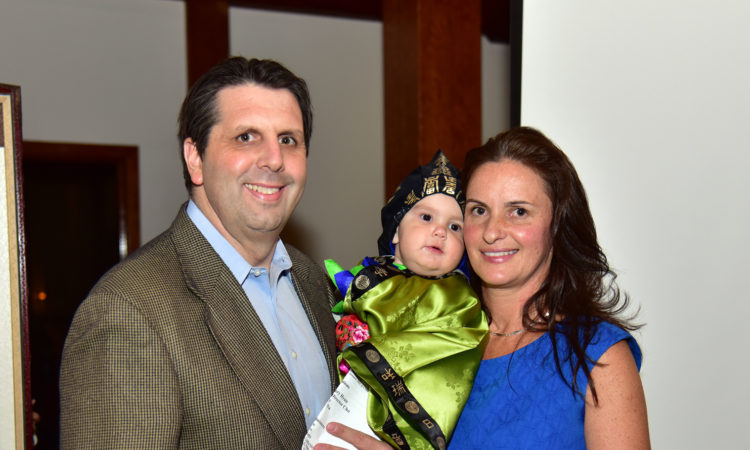 January 15, 2016 - Ambassador Mark Lippert's son Sejun had a 1st birthday and grabbed at his doljabi, a Korean ceremony held for a baby on its first birthday.