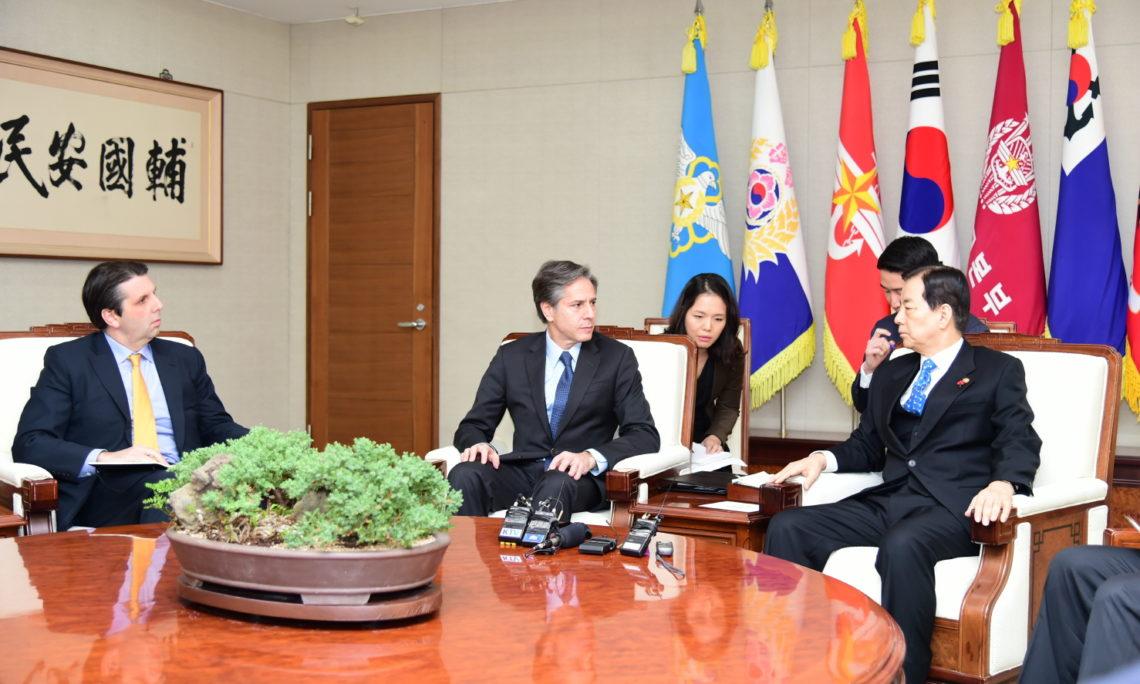 "January 20, 2016 - Deputy Secretary of State Antony ""Tony"" Blinken and U.S. Ambassador to South Korea Mark Lippert meet with South Korean Defense Minister Han Min-koo at the Defense Ministry. [State Department photo]"