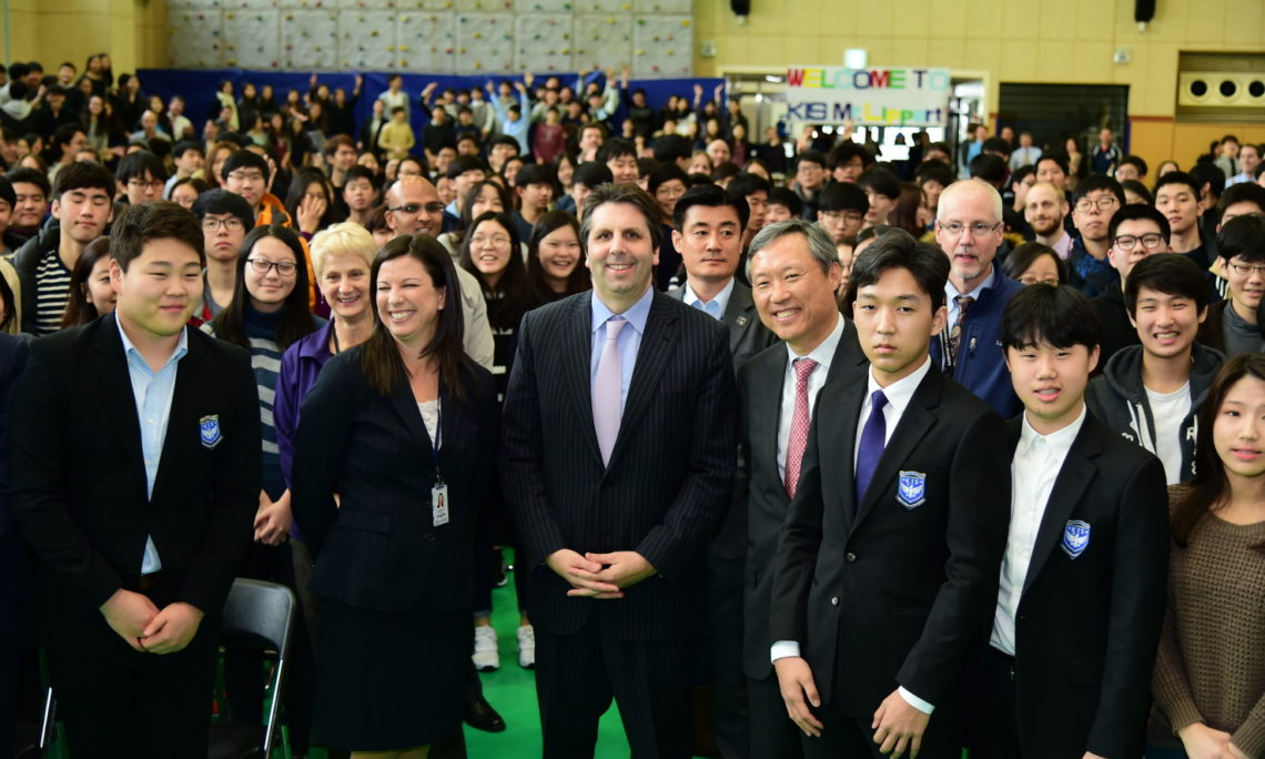 February 18, 2016 - Ambassador Mark Lippert visited and gave a speech to students and faculty at Korea International School (KIS) in Pangyo.