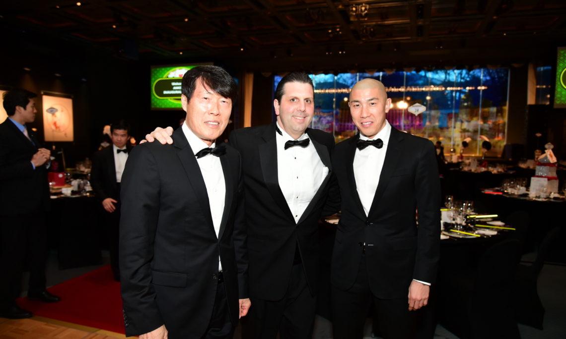 February 20, 2016 - Ambassador Mark Lippert meets soccer players Cha Duri and his father Cha Bum-kun at the AMCHAM Inaugural Ball 2016.
