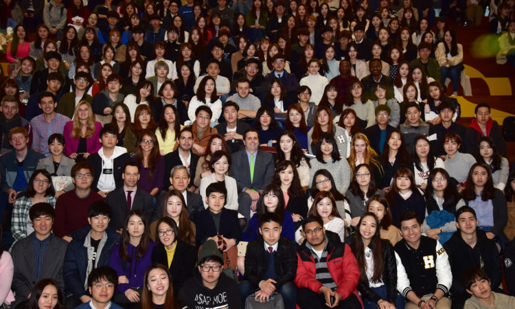 March 24, 2016 - Ambassador Mark Lippert engages with students at a Town Hall meeting held March 24th at Hankuk University of Foreign Studies.