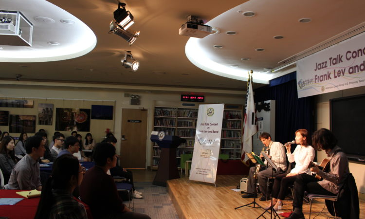 April 29, 2016 – American Center Korea celebrates Jazz Appreciation Month with a special Jazz Talk Concert conducted by Frank Lev and his band at the American Center Korea.