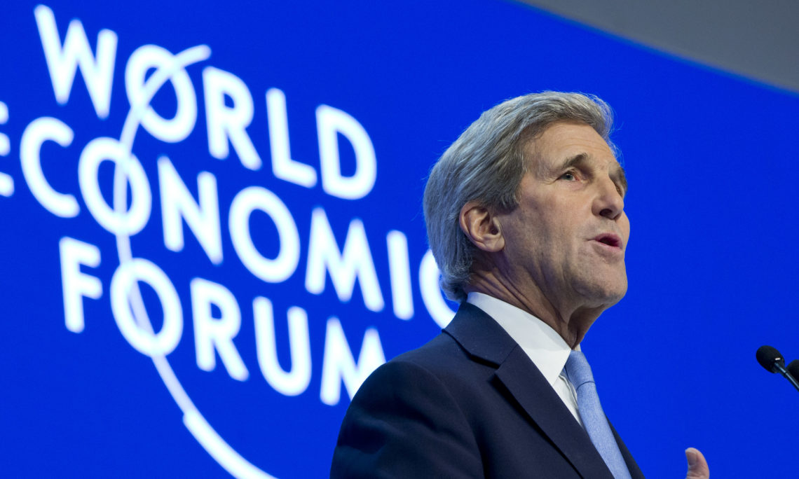 U.S. Secretary of State John Kerry speaks to the 2016 World Economic Forum in Davos, Switzerland, on Friday, Jan. 22, 2016. Speaking Friday at the World Economic Forum, U.S. Secretary of State John Kerry says the Obama administration will seek a major boost in funding for global refugee support and press for at least 10 new countries to offer resettlement programs. (AP Photo/Jacquelyn Martin, Pool)