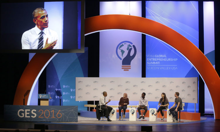 President Barack Obama, seated at left, speaks at the Global Entrepreneurship Summit in Stanford, Calif., Friday, June 24, 2016. (AP Photo/Jeff Chiu)