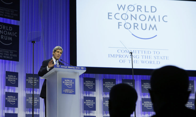 U.S. Secretary of State John Kerry delivers his speech at the World Economic Forum in Davos, Switzerland, Friday, Jan. 24, 2014. Kerry today hit back at criticism that the US was retreating from the Middle East and the rest of the world. He highlighted US efforts to kickstart the Israeli-Palestinian peace process, a push to rid Syria of its chemical weapons and a landmark deal with Iran to rein in its nuclear programme. (AP Photo / Gary Cameron, Pool)