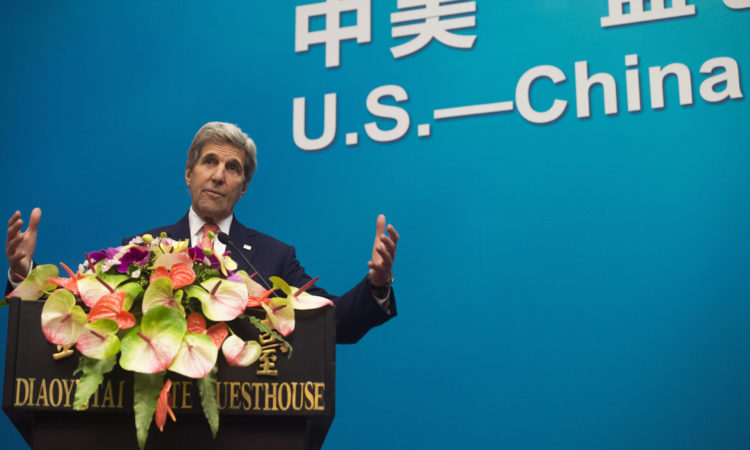 U.S. Secretary of State John Kerry speaks about ocean conservation during the U.S.-China Strategic and Economic Dialogues at Diaoyutai State Guesthouse in Beijing, Monday, June 6, 2016. (Saul Loeb/Pool Photo via AP)