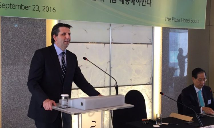 "Ambassador Mark Lippert delivers a remark on ""The Critical Moment for Global Climate Change Action"" at the Climate Change Center."