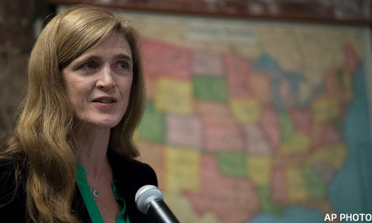 American Ambassador to the U.N. Samantha Power speaks to new American citizens during a naturalization ceremony at the Lower East Side Tenement Museum, Tuesday, Nov. 15, 2016, in New York. (AP Photo/Mary Altaffer)