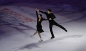 Maia Shibutani and Alex Shibutani perform during an exhibition event at the U.S. Figure Skating Championships Sunday, Jan. 22, 2017, in Kansas City, Mo. (AP Photo/Charlie Riedel)