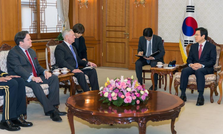 Secretary of Defense Mattis and Chargé d'Affaires Knapper Pay a Courtesy Call on Acting President Hwang Kyo-ahn