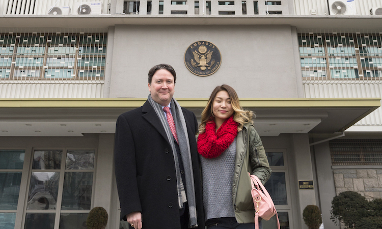 Chargé d'Affaires Marc Knapper and U.S. Sports Envoy Chloe Kim unveiled a banner to support Korea's preparation for the 2018 PyeongChang Winter Olympics. Embassy Seoul created a banner for the front of the Embassy building.