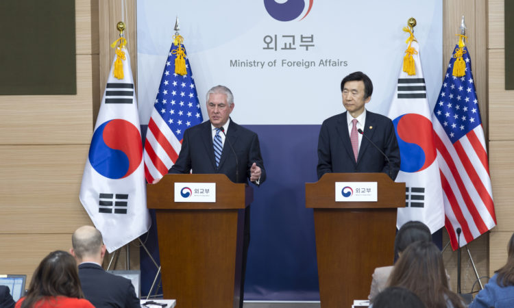 U.S. Secretary of State Rex Tillerson and South Korean Foreign Minister Yun Byung-se address reporters after their bilateral meeting at the Ministry of Foreign Affairs in Seoul, South Korea, on March 17, 2017. [State Department photo/ Public Domain]