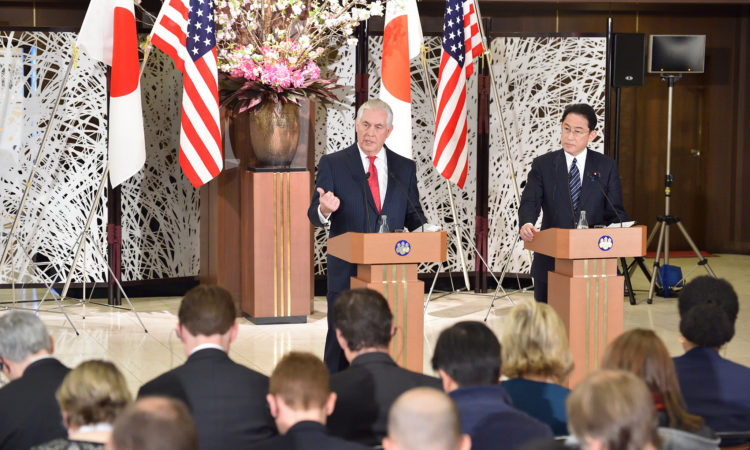 U.S. Secretary of State Rex Tillerson and Japanese Foreign Minister Fumio Kishida address reporters after their bilateral meeting in Tokyo, Japan, on March 16, 2017. [State Department photo/ Public Domain]