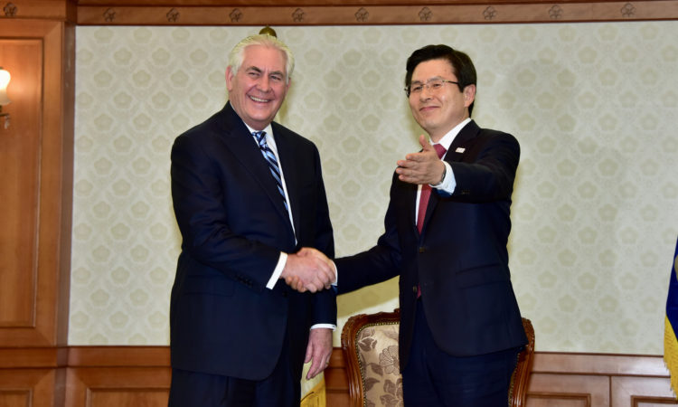 U.S. Secretary of State Rex Tillerson shakes hands with South Korean Acting President Hwang Kyo-ahn before their bilateral meeting in Seoul, South Korea, on March 17, 2017. [State Department photo]