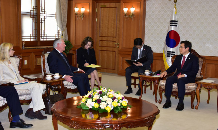 U.S. Secretary of State Rex Tillerson meets with South Korean Acting President Hwang Kyo-ahn in Seoul, South Korea, on March 17, 2017. [State Department photo/ Public Domain]