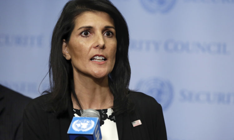U.S. Ambassador Nikki Haley addresses a news conference after consultations of the United Nations Security Council, Wednesday, March 8, 2017. (AP Photo)