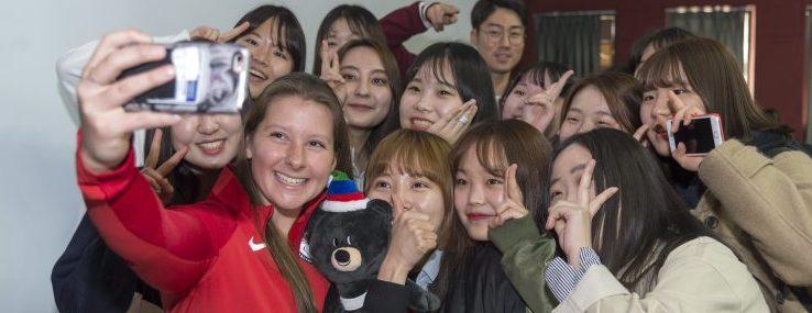 March 21, 2017 - U.S. Sports Envoy Stephanie Jallen discussed overcoming adversity with university students at Yonesi University's Wonju