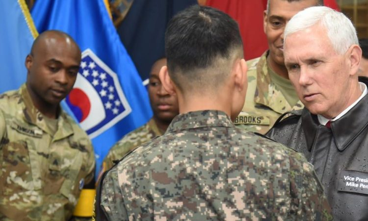 April 17, 2017- U.S. Vice President Pence speaks with ROK and U.S. soldiers in the Demilitarized Zone.