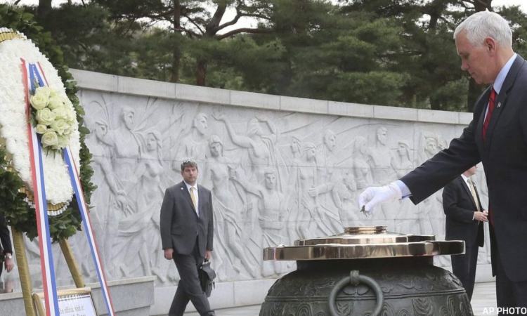 April 16, 2017 - Vice President Mike Pence paid his respects to veterans at Seoul National Cemetery and honored those who sacrificed their lives for our two countries. (AP Photo)