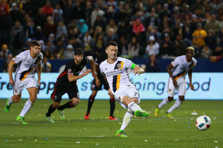 Robbie Keane #7 of Los Angeles Galaxy takes a penalty kick in the second half of their MLS match against D.C. United at StubHub Center on March 6, 2016 in Carson, California.