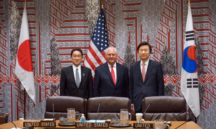Secretary Tillerson Poses for a Photo With Korean Foreign Minister Yun and Japanese Foreign Minister Kishida Before Their Trilateral Meeting in New York City
