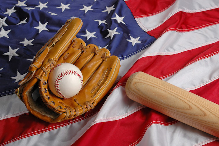 Baseball, bat ang glove symbolizing the American Pastime