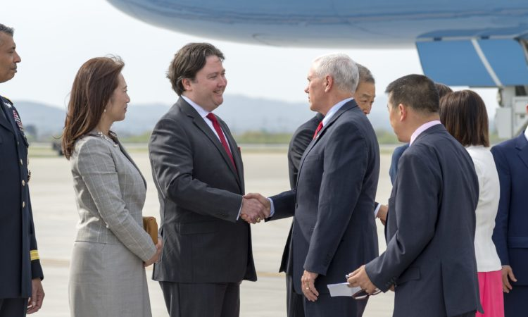April 16, 2017 - U.S. Vice President Mike Pence is greeted by Marc Knapper, U.S. Embassy Seoul Chargé d'Affaires ad interim, upon arrival at Osan Air Base in South Korea.