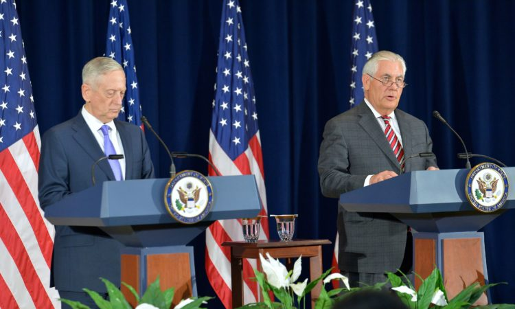 June 21, 2017- Secretaries Tillerson and Mattis Address Reporters After the U.S.-China Diplomatic and Security Dialogue in Washington. (DOS photo)
