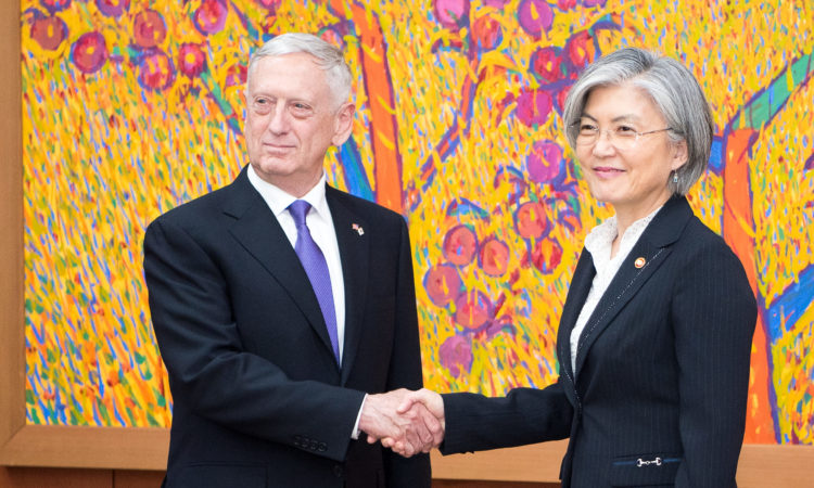 Defense Secretary Jim Mattis meets with South Korea Minister of Foreign Affairs Kang Kyung-wha during a visit to Seoul, South Korea, Oct. 27, 2017. [DOD Photo]