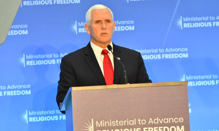 Vice President Pence delivers remarks at the Ministerial to Advance Religious Freedom on July 26, 2018 at the U.S. Department of State, in Washington, D.C. [State Department Photo/Public Domain]