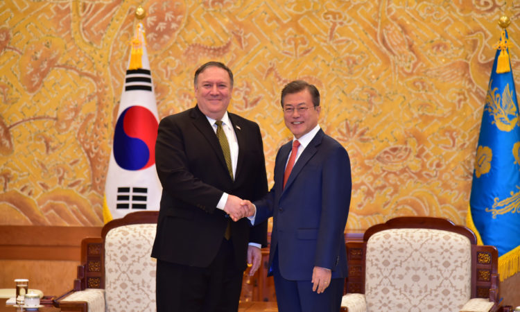 U.S. Secretary of State Michael R. Pompeo Meets President Moon Jae-in