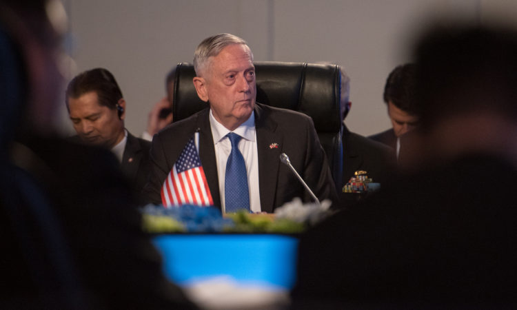Defense Secretary Jim Mattis attends a meeting with the Association of Southeast Asian Nations Defense Ministers (ASEAN) in Clark, Philippines on Oct. 24, 2017