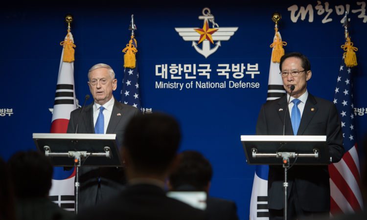 Defense Secretary Jim Mattis speaks during a joint presser with South Korean Minister of Defense Song Young-moo following the 49th Security Consultative Meeting at the South Korean Ministry of Defense in Seoul on Oct. 28, 2017. (DoD photo by US Army Sgt. Amber I. Smith)