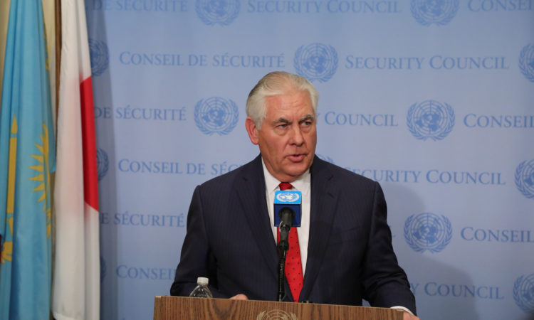 U.S. Secretary of State Rex Tillerson addresses reporters following the UN Security Council ministerial on DPRK in New York City on December 15, 2017.