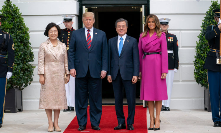 April 11, 2019 - President Donald J. Trump and First Lady Melania Trump welcome President Moon Jae-in and Mrs. Kim Jung-sook of the Republic of Korea to the White House. (White House Photo)